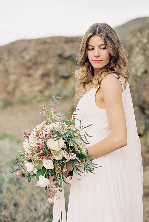 Bride and Bouquet | Desert and Sage Organic Wedding Inspiration from Kerry Jeanne Photography