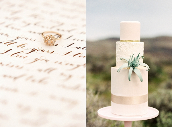 Three Tier Wedding Cake | Desert and Sage Organic Wedding Inspiration from Kerry Jeanne Photography