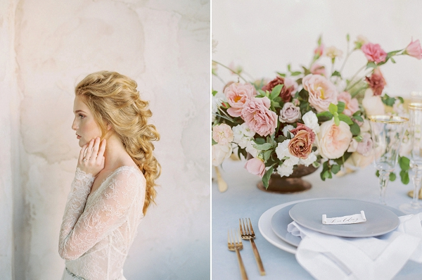 Place Setting | Elegant Wedding Inspiration in an Old World Setting by Honey Gem Creative Photography
