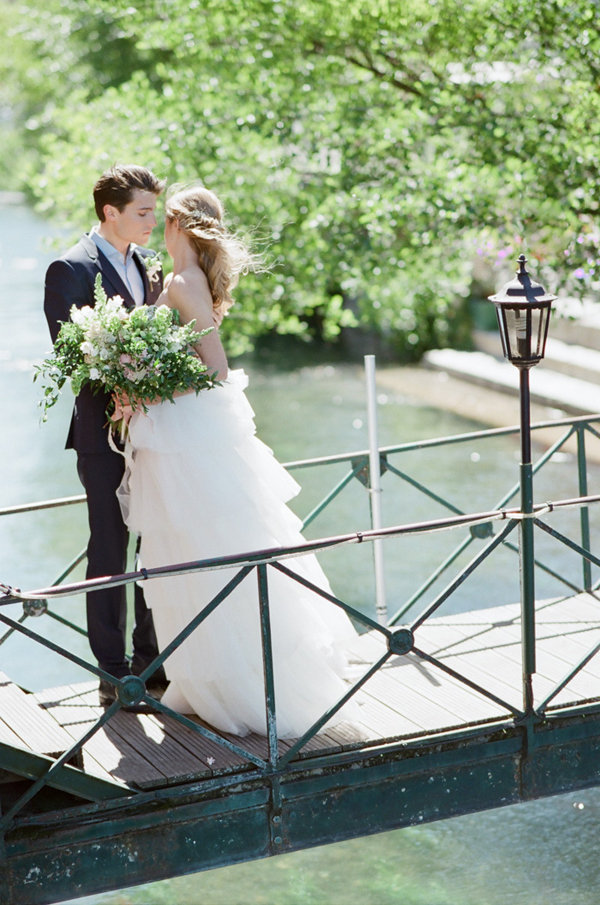 Bride and Groom Portraits on a Bridge | Romantic Day After Wedding Inspiration In Provence by Tamara Gruner Photography