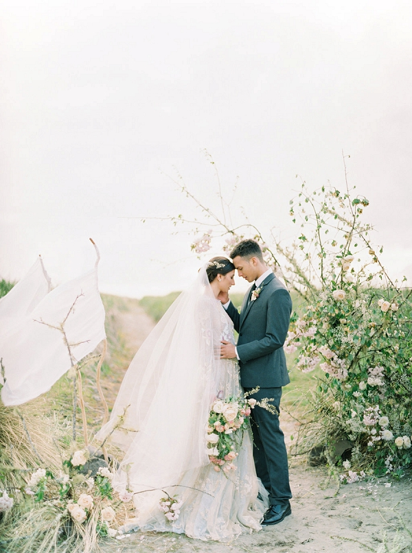 Sweet Bride and Groom Portrait | Romantic Wedding Inspiration on the Oregon Coast from Cassie Valente Photography