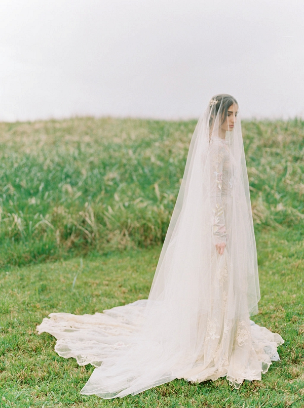 Bride in Melinda Rose Veil | Romantic Wedding Inspiration on the Oregon Coast from Cassie Valente Photography