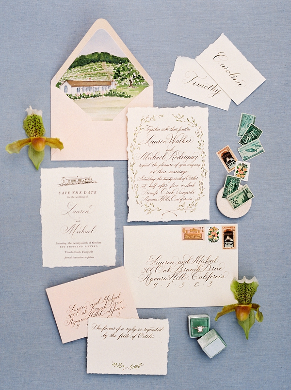 Stunning Calligraphy Invitation Suite | Triunfo Creek Editorial by Christine Doneé Photography