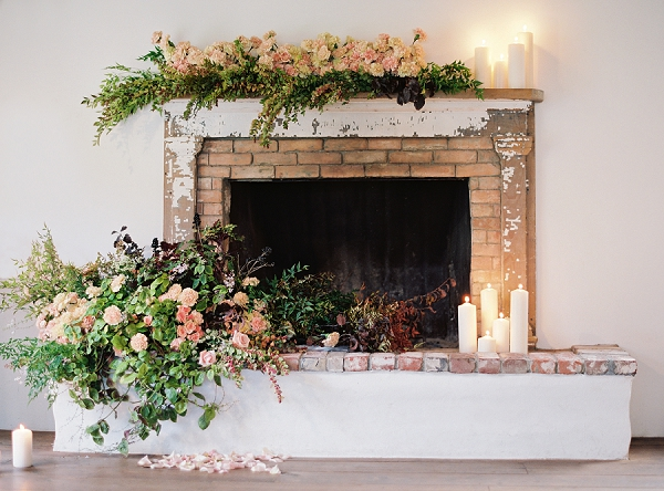 Fireplace with Wedding Florals | Triunfo Creek Editorial by Christine Doneé Photography