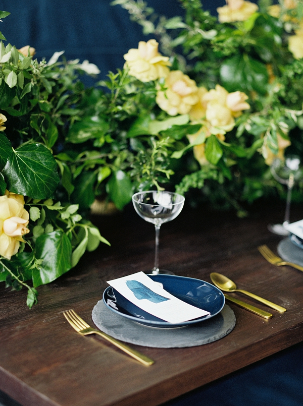 Place Setting | Moody and Romantic Indigo Wedding Inspiration by Jenna Powers