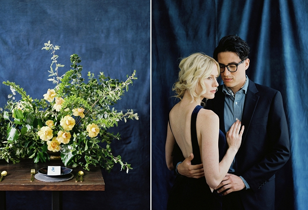 Yellow Floral Centerpiece | Moody and Romantic Indigo Wedding Inspiration by Jenna Powers