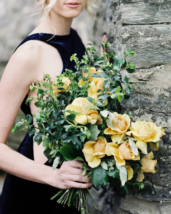 Yellow Bridal Bouquet | Moody and Romantic Indigo Wedding Inspiration by Jenna Powers