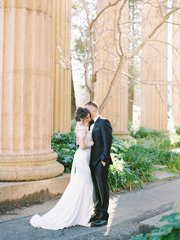 Sweet Bride and Groom | Palace of The Fine Arts Elopement Ideas by Ivory & Vine Event Co. and Stephanie Brazzle Photography