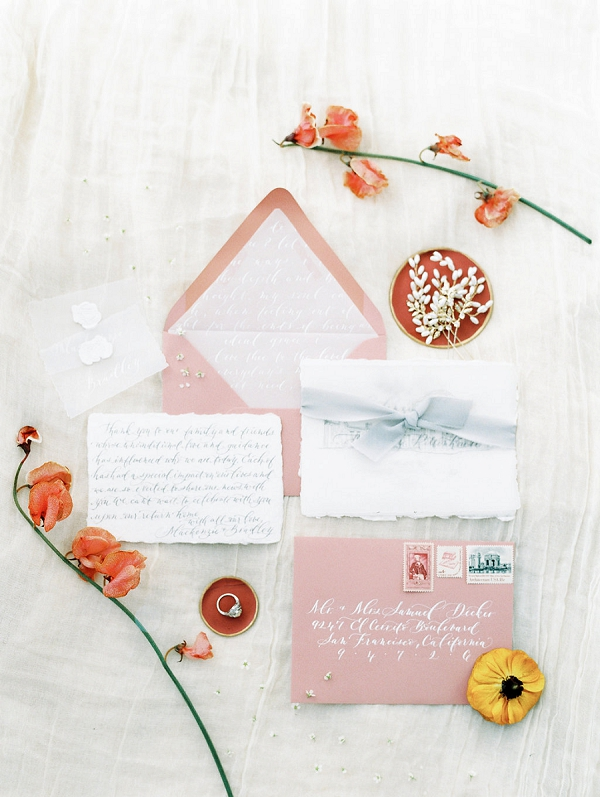 Calligraphy Invitation Suite By Scribbles and Swirls | Palace of The Fine Arts Elopement Ideas by Ivory & Vine Event Co. and Stephanie Brazzle Photography