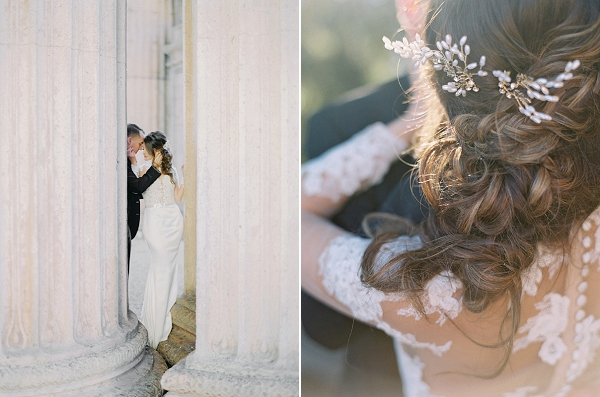 Bridal Hairpiece By Maggie Wu Studio | Palace of The Fine Arts Elopement Ideas by Ivory & Vine Event Co. and Stephanie Brazzle Photography