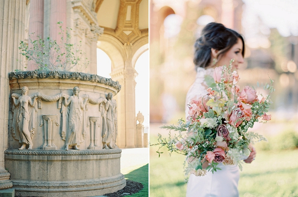 Blush Pink and Lilac Bouquet | Palace of The Fine Arts Elopement Ideas by Ivory & Vine Event Co. and Stephanie Brazzle Photography