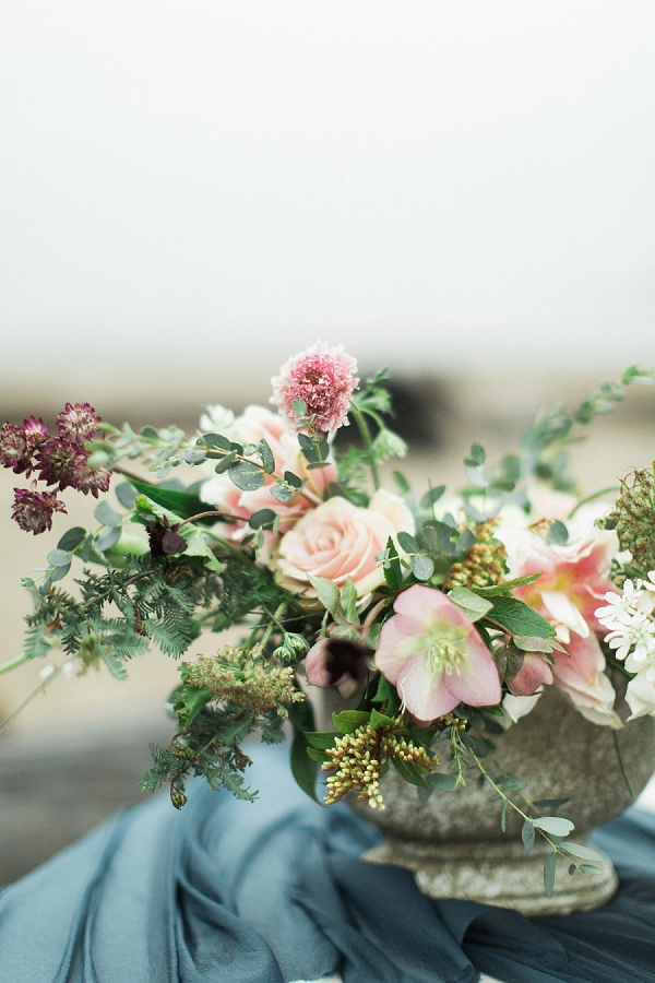 Blush Pink and Mauve Centerpiece | Rainy Day Elopement Inspiration by Tracy Enoch Photography and Query Events