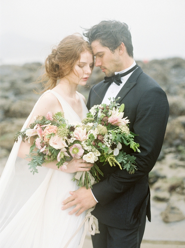 Bride with Bouquet | Rainy Day Elopement Inspiration by Tracy Enoch Photography and Query Events