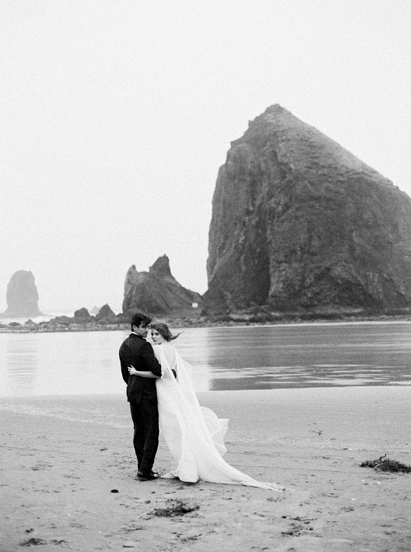 Bride and Groom on the Coast | Rainy Day Elopement Inspiration by Tracy Enoch Photography and Query Events