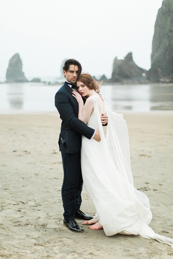 Bride and Groom on Coast | Rainy Day Elopement Inspiration by Tracy Enoch Photography and Query Events