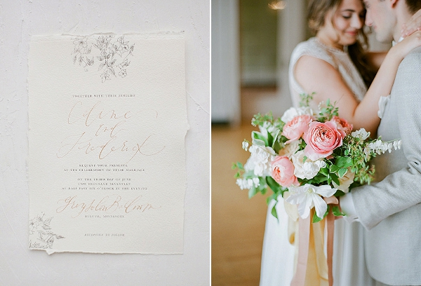 Peach Bouquet | Springtime In Paris Wedding Inspiration by Anna Grinets Photography
