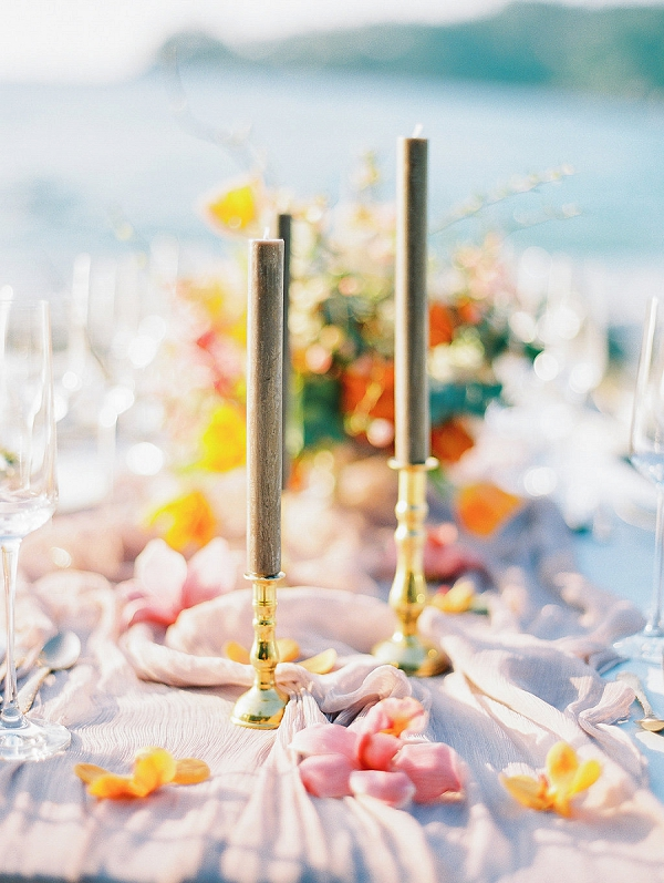 Tabletop Candles and Flowers | Tropical Elopement Inspiration by Steve Torres Photography