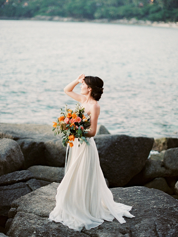 Bride with Bouquet on Tropical Beach | Thailand | Tropical Elopement Inspiration by Steve Torres Photography