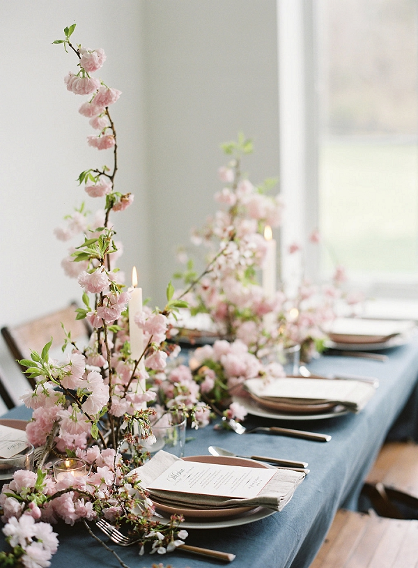 Spring Tablescape | Cherry Blossom-Inspired Fine Art Wedding Ideas from Angela Newton Roy Photography