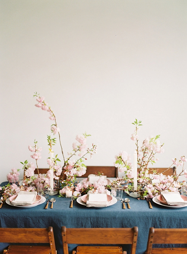 Modern Romantic Tablescape | Cherry Blossom-Inspired Fine Art Wedding Ideas from Angela Newton Roy Photography