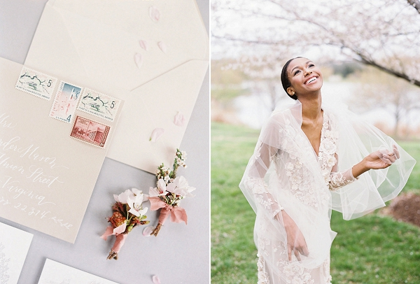 Boutonnieres | Cherry Blossom-Inspired Fine Art Wedding Ideas from Angela Newton Roy Photography