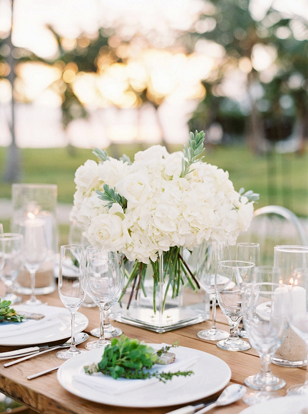 Elegant Floral Centerpiece | Glamorous Wedding Weekend in the Bahamas by Hunter Ryan Photography