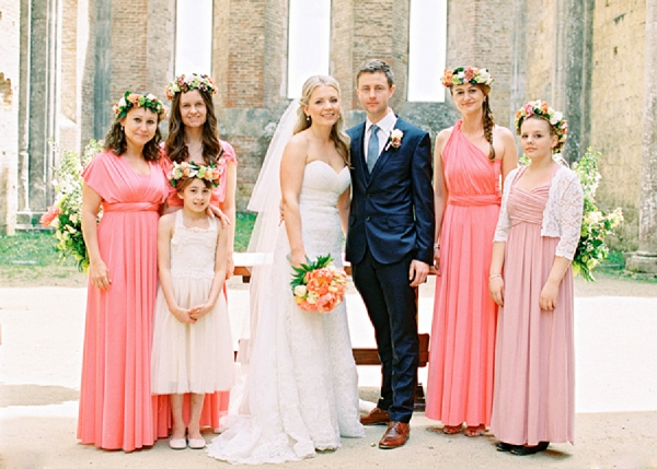 Bride and Groom with Bridesmaids | Intimate and Romantic Tuscany Destination Wedding by Kir & Ira Photography