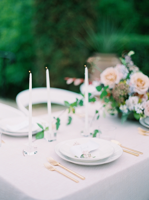 Delicate Candles | Modern Chic Garden Wedding Inspiration by Jenna McElroy Photography