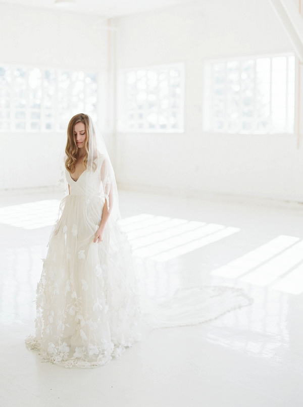 Bride with Veil   Modern Minimalism for a Morning Wedding by Maria Lamb Photography