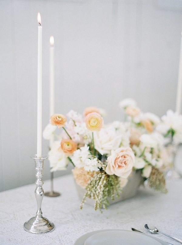 Centerpiece and Candles   Modern Minimalism for a Morning Wedding by Maria Lamb Photography