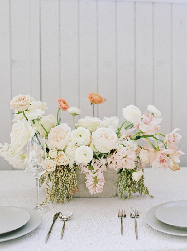 Floral Centerpiece   Modern Minimalism for a Morning Wedding by Maria Lamb Photography