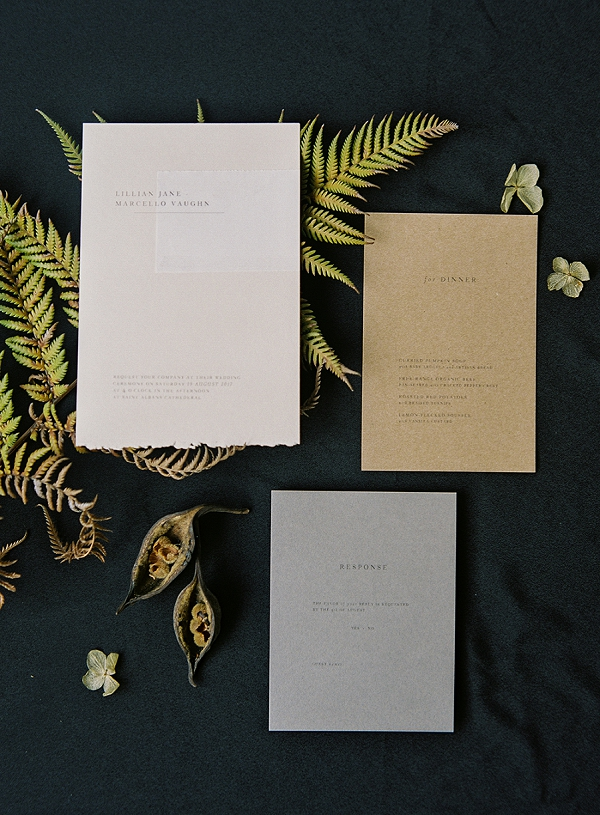 Wedding Invitation Suite | Art Inspired Bridal Inspiration By Sara Weir Photography
