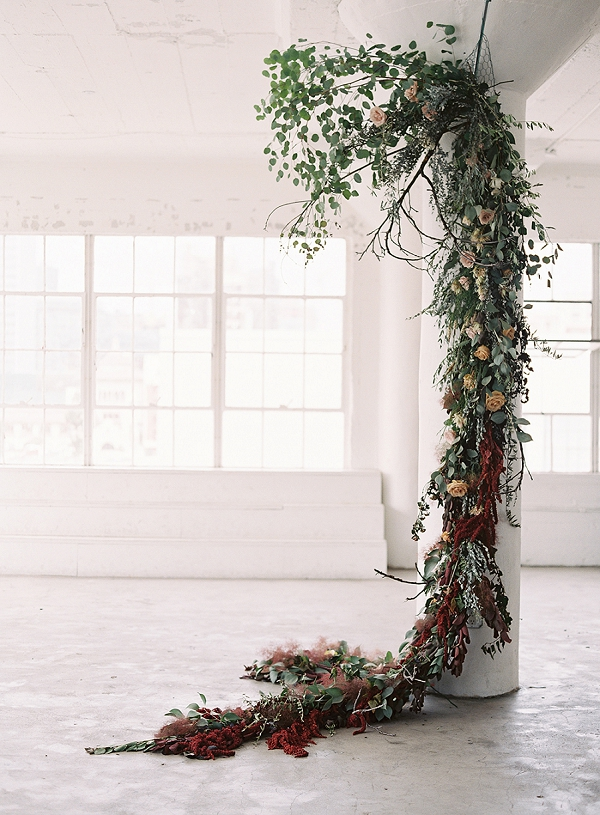 Floral Installation for Modern Ceremony | Art Inspired Bridal Inspiration By Sara Weir Photography