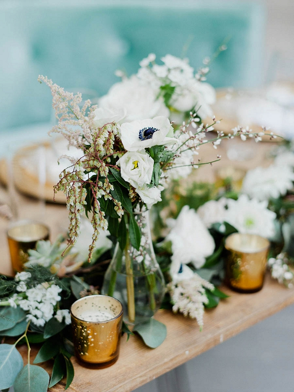 Floral Centerpiece and Candles | Chic Art Deco Miami Wedding By Merari Photography