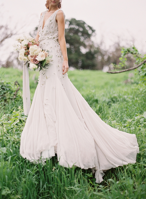 Floral Wedding Gown from Shop Gossamer   Romantic Floral Wedding Inspiration By Sara Weir Photography