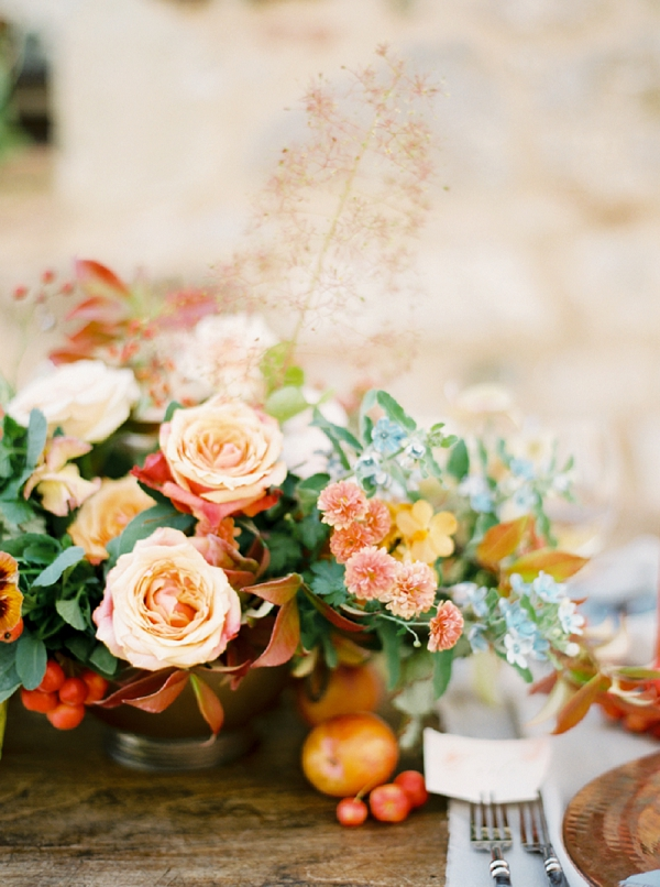Floral Centerpiece | Tuscany Wedding Inspiration by Rebecca Hollis Photography