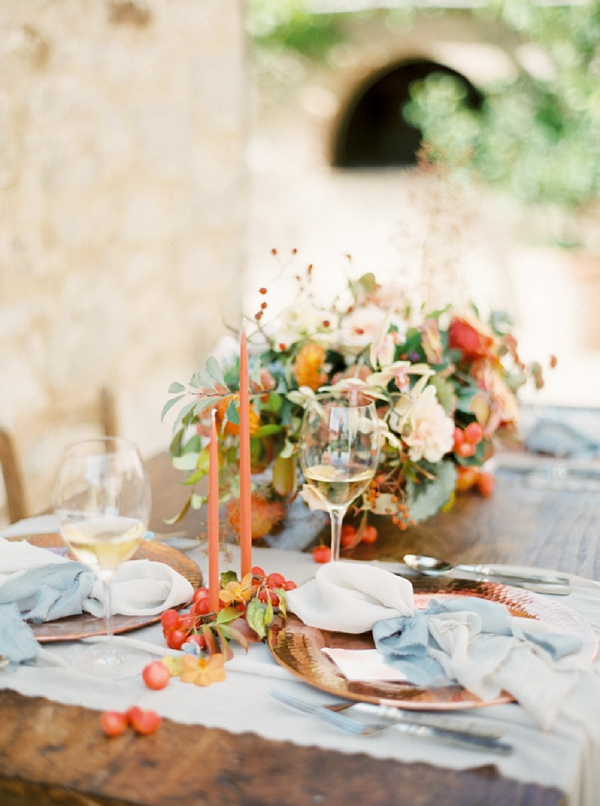 Fall Tablescape | Tuscany Wedding Inspiration by Rebecca Hollis Photography