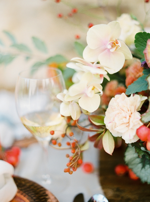 Floral Centerpiece with Orchids | Tuscany Wedding Inspiration by Rebecca Hollis Photography