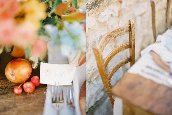 Table Details | Tuscany Wedding Inspiration by Rebecca Hollis Photography