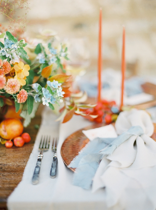 Place Setting | Tuscany Wedding Inspiration by Rebecca Hollis Photography