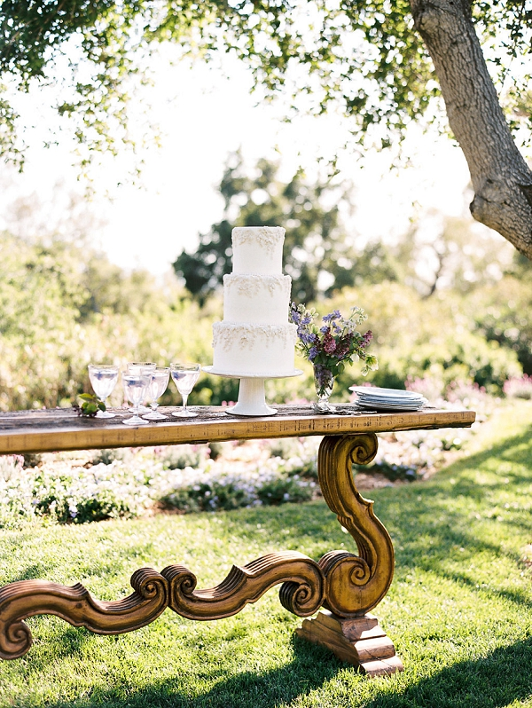 Elegant Cake Table Idea | Classically Elegant Lavender Wedding Inspiration at San Ysidro Ranch by Jen Rodriguez Photography