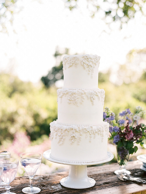 Classic Three Layer Wedding Cake | Classically Elegant Lavender Wedding Inspiration at San Ysidro Ranch by Jen Rodriguez Photography