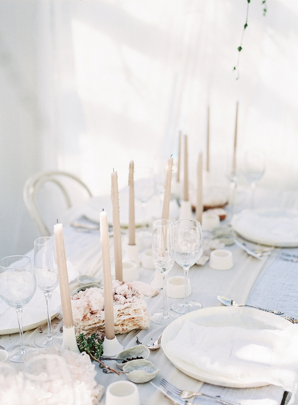 Tablescape with Candles | Enchanting Crystal Wedding Ideas from Lisa Catherine Photography