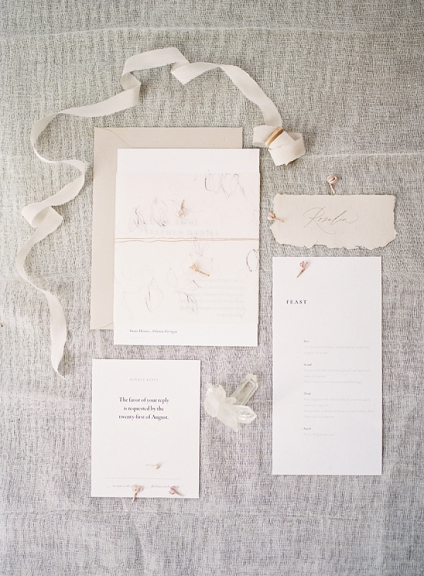 Neutral Wedding Invitation Suite | Enchanting Crystal Wedding Ideas from Lisa Catherine Photography