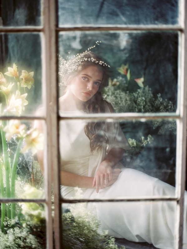 Bride with Floral Headpiece | Ethereal Greenhouse Wedding Inspiration from Brushfire Photography