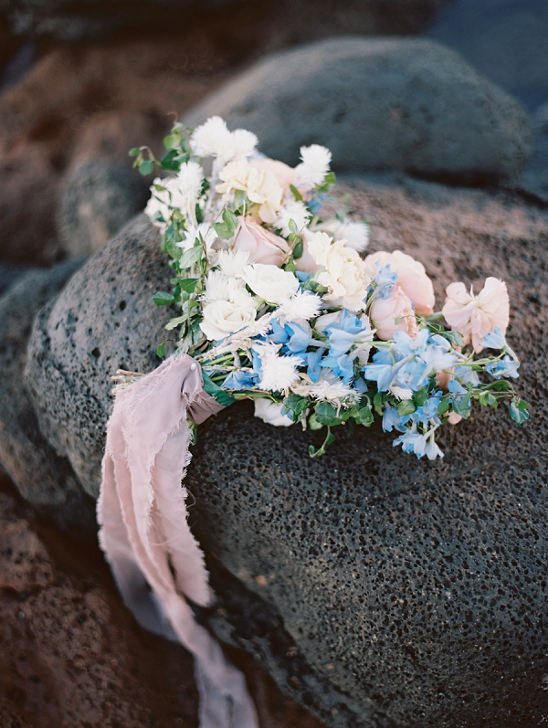 Pastel Bridal Bouquet from Rooted Florals | Maui Bridal Portrait Ideas from Carmen Santorelli Photography
