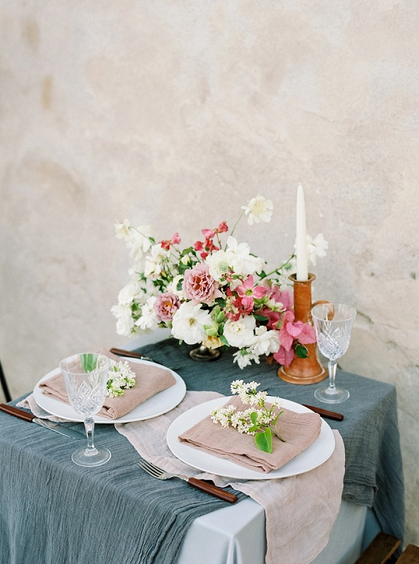 Romantic Tabletop with Textured Linens | Old World Bridal Inspiration By Jen Jar Photography