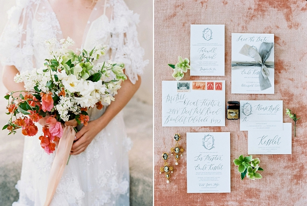 Calligraphy Wedding Invitations and Bridal Bouquet | Old World Bridal Inspiration By Jen Jar Photography