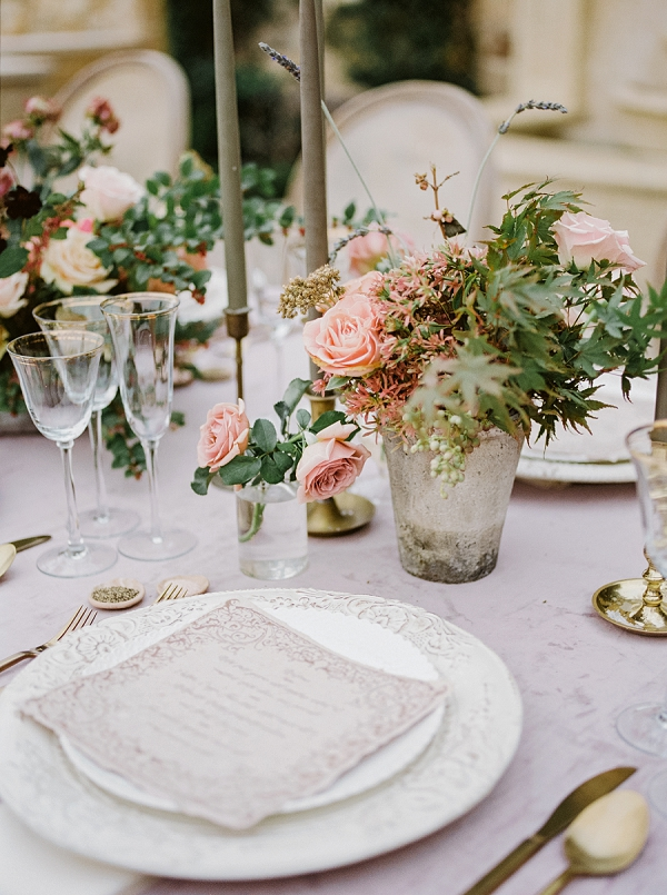 Place Setting and Tablescape in Romantic Hues | Romantic Bridal Ballerina Inspiration In Malibu by Babsie Ly Photography