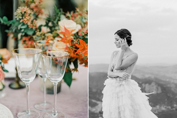 Gold Rimmed Glassware | Romantic Bridal Ballerina Inspiration In Malibu by Babsie Ly Photography